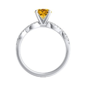 CARINA  Yellow  Diamond  Engagement  Ring  In  14K  White  Gold  With  0.50  Carat  Round  Diamond