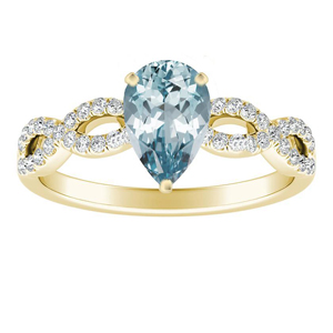 CARINA  Aquamarine  Engagement  Ring  In  14K  Yellow  Gold  With  1.00  Carat  Pear  Stone