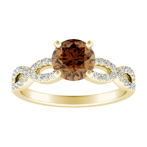 CARINA  Brown  Diamond  Engagement  Ring  In  14K  Yellow  Gold  With  0.50  Carat  Round  Diamond