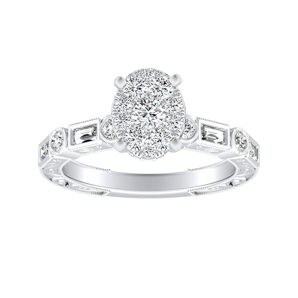 KEIRA Vintage Diamond Engagement Ring In 14K White Gold With Oval Diamond In H-I SI1-SI2 Quality