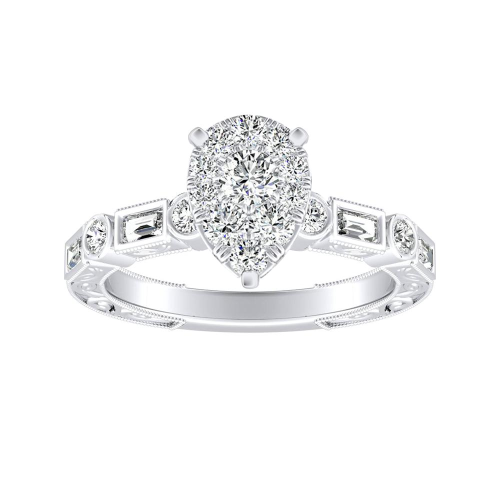 KEIRA Vintage Diamond Engagement Ring In 14K White Gold With Pear Diamond In H-I SI1-SI2 Quality
