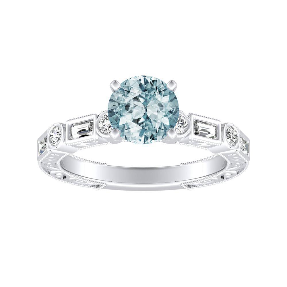 KEIRA Vintage Aquamarine Engagement Ring In 14K White Gold With 1.00 Carat Round Stone