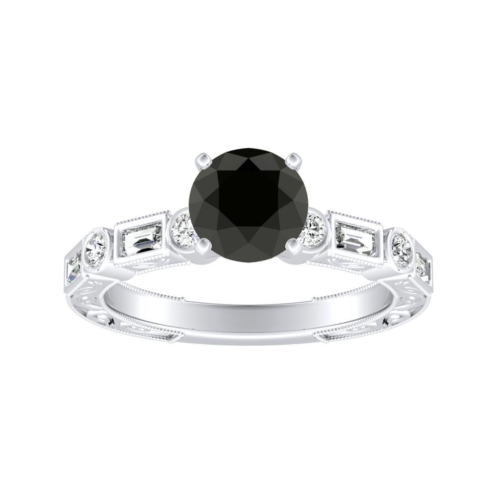 KEIRA Vintage Black Diamond Engagement Ring In 14K White Gold With 1.00 Carat Round Diamond