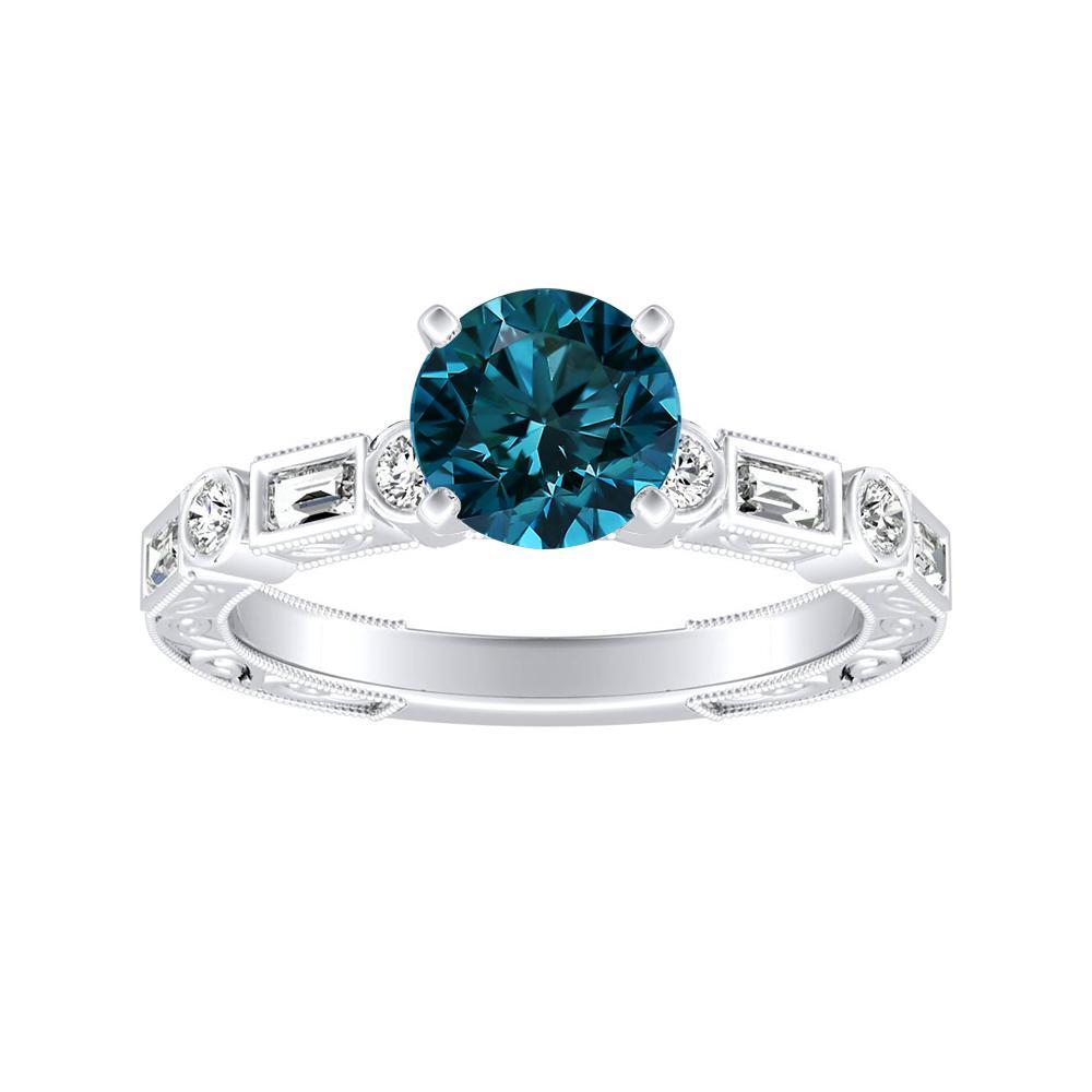 KEIRA Vintage Blue Diamond Engagement Ring In 14K White Gold With 0.50 Carat Round Diamond