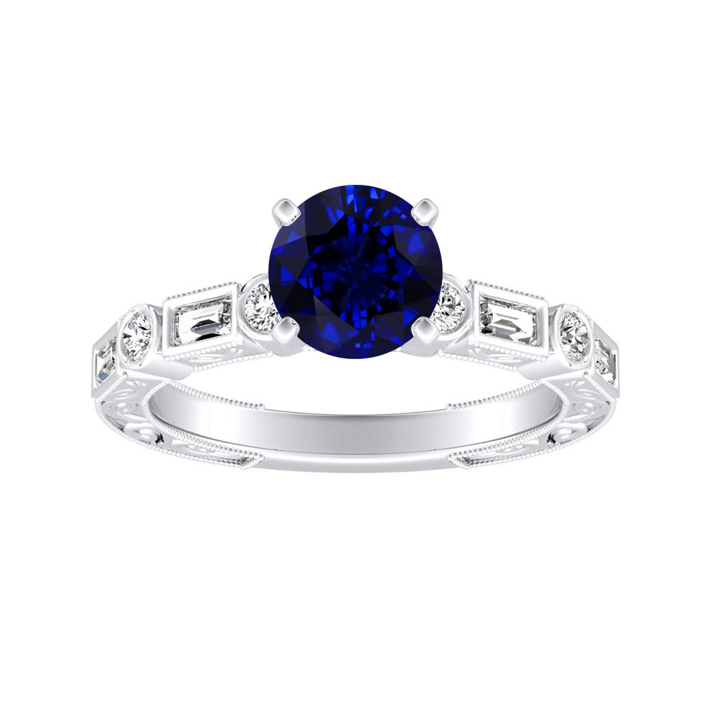 KEIRA Vintage Blue Sapphire Engagement Ring In 14K White Gold With 0.30 Carat Round Stone