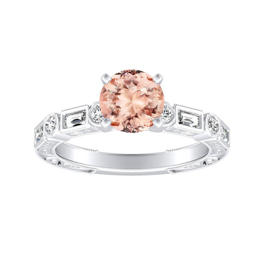KEIRA Vintage Morganite Engagement Ring In 14K White Gold With 1.00 Carat Round Stone