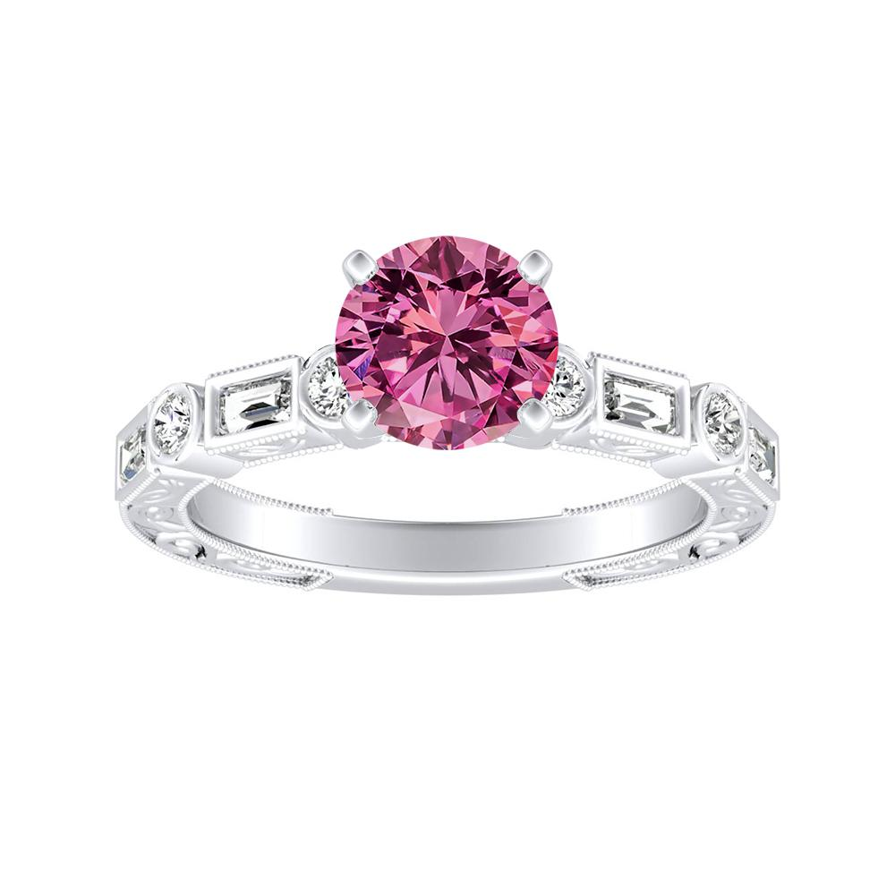 KEIRA Vintage Pink Sapphire Engagement Ring In 14K White Gold With 0.50 Carat Round Stone