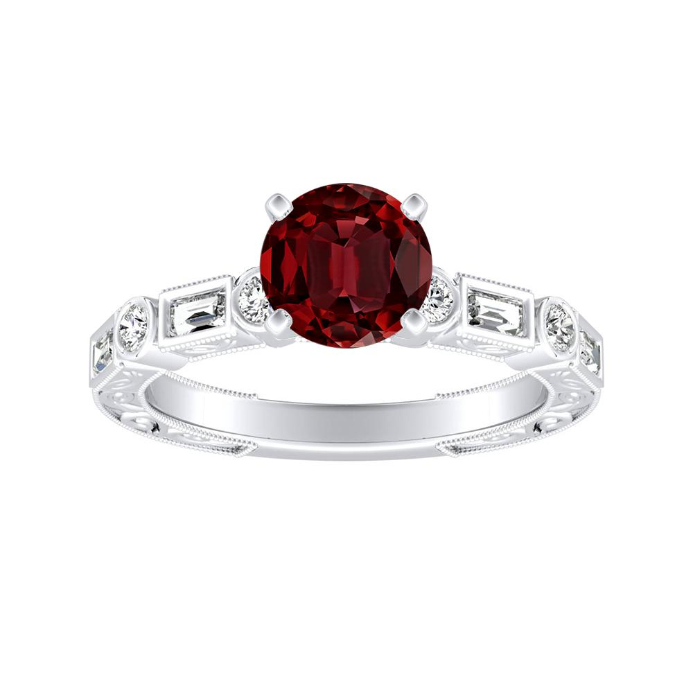KEIRA Vintage Ruby Engagement Ring In 14K White Gold With 0.50 Carat Round Stone