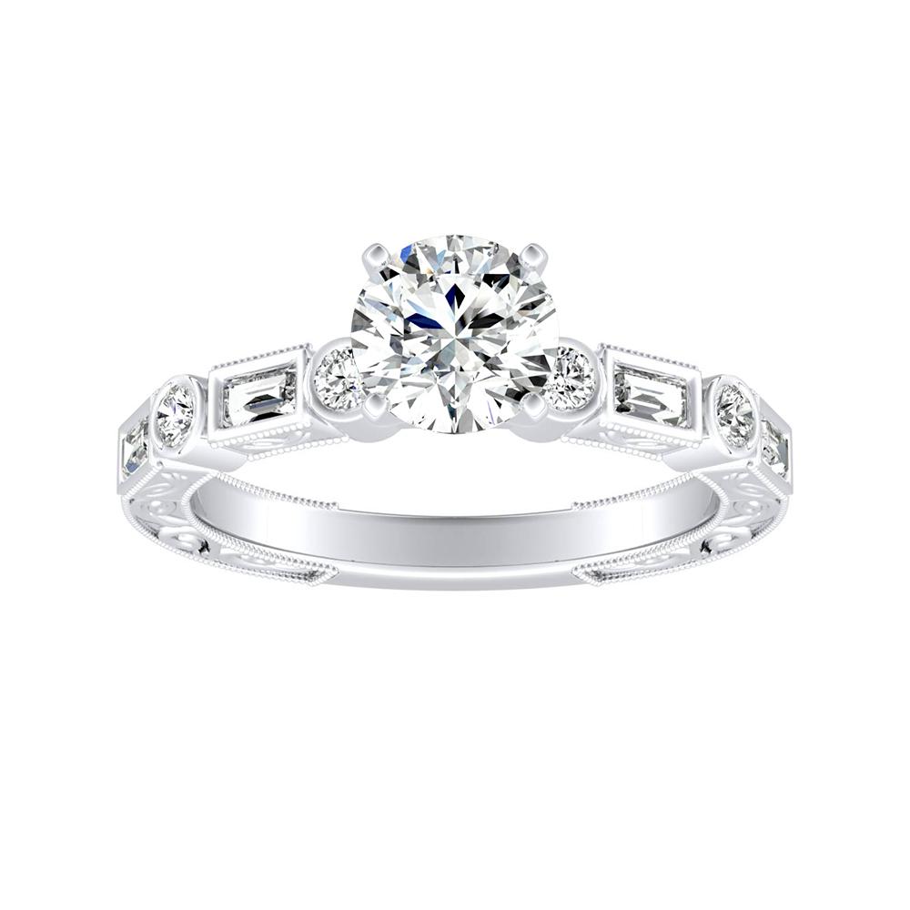KEIRA Vintage Diamond Engagement Ring In 14K White Gold
