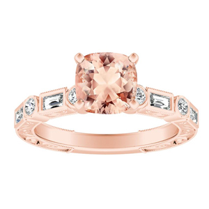 KEIRA Vintage Morganite Engagement Ring In 14K Rose Gold With 4.00 Carat Cushion Stone