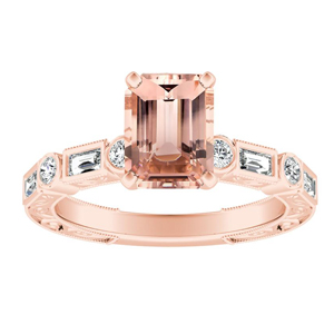 KEIRA Vintage Morganite Engagement Ring In 14K Rose Gold With 1.00 Carat Emerald Stone