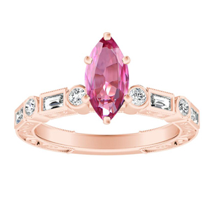 KEIRA  Vintage  Pink  Sapphire  Engagement  Ring  In  14K  Rose  Gold  With  0.50  Carat  Marquise  Stone