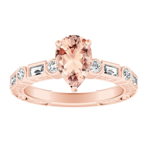 KEIRA Vintage Morganite Engagement Ring In 14K Rose Gold With 1.00 Carat Pear Stone