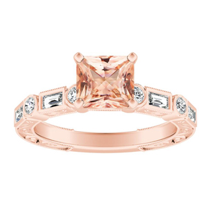 KEIRA Vintage Morganite Engagement Ring In 14K Rose Gold With 4.00 Carat Princess Stone