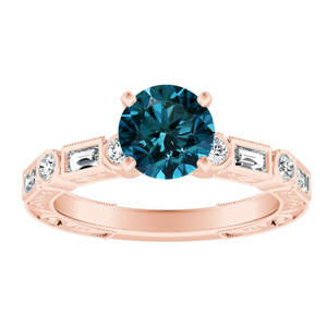 KEIRA  Vintage  Blue  Diamond  Engagement  Ring  In  14K  Rose  Gold  With  0.50  Carat  Round  Diamond