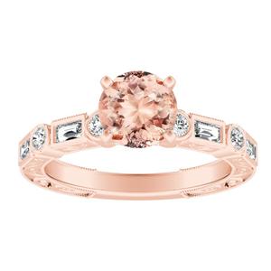 KEIRA Vintage Morganite Engagement Ring In 14K Rose Gold With 4.00 Carat Round Stone