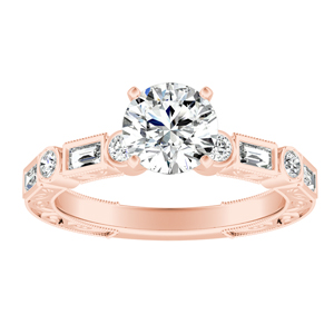 KEIRA Vintage Diamond Engagement Ring In 14K Rose Gold