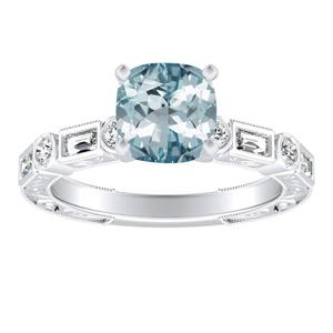 KEIRA Vintage Aquamarine Engagement Ring In 14K White Gold With 2.00 Carat Cushion Stone