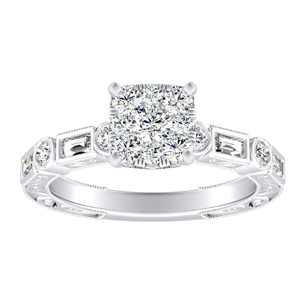 KEIRA Vintage Diamond Engagement Ring In 14K White Gold With Cushion Diamond In H-I SI1-SI2 Quality