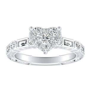 KEIRA Vintage Diamond Engagement Ring In 14K White Gold With Heart Diamond In H-I SI1-SI2 Quality