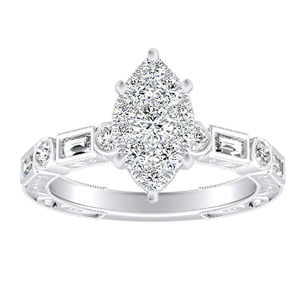 KEIRA Vintage Diamond Engagement Ring In 14K White Gold With Marquise Diamond In H-I SI1-SI2 Quality
