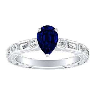KEIRA  Vintage  Blue  Sapphire  Engagement  Ring  In  14K  White  Gold  With  0.50  Carat  Pear  Stone