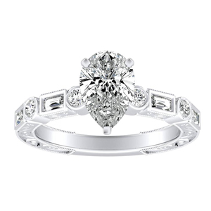 KEIRA Vintage Diamond Engagement Ring In 14K White Gold