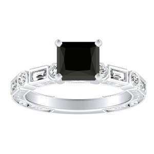 KEIRA  Vintage  Black  Diamond  Engagement  Ring  In  14K  White  Gold  With  1.00  Carat  Princess  Diamond