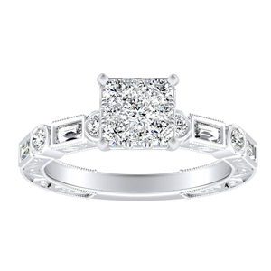KEIRA Vintage Diamond Engagement Ring In 14K White Gold With Princess Diamond In H-I SI1-SI2 Quality