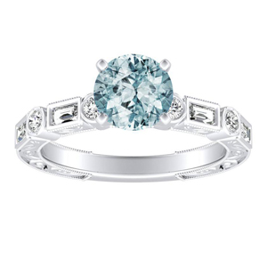 KEIRA Vintage Aquamarine Engagement Ring In 14K White Gold With 1.00 Carat Round Stone