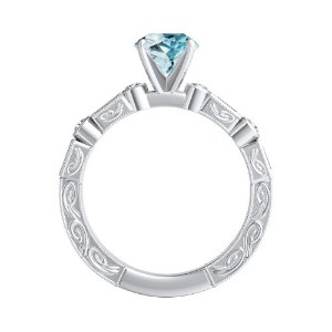 KEIRA  Vintage  Aquamarine  Wedding  Ring  Set  In  14K  White  Gold  With  1.00  Carat  Round  Stone