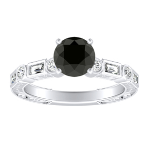 KEIRA Vintage Black Diamond Engagement Ring In 14K White Gold With 0.50 Carat Round Diamond