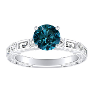 KEIRA  Vintage  Blue  Diamond  Engagement  Ring  In  14K  White  Gold  With  0.50  Carat  Round  Diamond