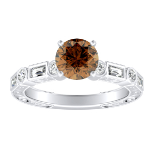 KEIRA  Vintage  Brown  Diamond  Engagement  Ring  In  14K  White  Gold  With  0.50  Carat  Round  Diamond