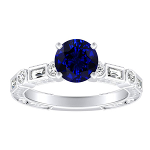 KEIRA  Vintage  Blue  Sapphire  Engagement  Ring  In  14K  White  Gold  With  0.50  Carat  Round  Stone