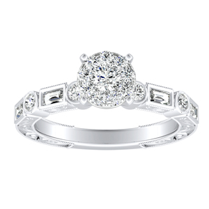 KEIRA Vintage Diamond Engagement Ring In 14K White Gold With Round Diamond In H-I SI1-SI2 Quality