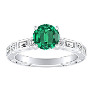 KEIRA Vintage Green Emerald Engagement Ring In 14K White Gold With 0.30 Carat Round Stone