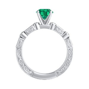 KEIRA  Vintage  Green  Emerald  Engagement  Ring  In  14K  White  Gold  With  0.50  Carat  Round  Stone