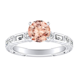 KEIRA Vintage Morganite Engagement Ring In 14K White Gold With 1.00 Carat Round Stone