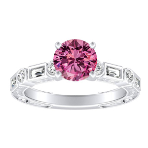 KEIRA Vintage Pink Sapphire Engagement Ring In 14K White Gold With 0.30 Carat Round Stone