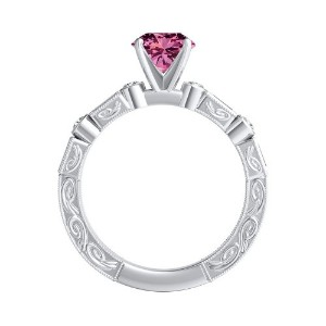 KEIRA  Vintage  Pink  Sapphire  Wedding  Ring  Set  In  14K  White  Gold  With  0.50  Carat  Round  Stone