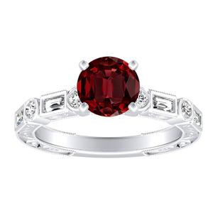 KEIRA Vintage Ruby Engagement Ring In 14K White Gold With 0.30 Carat Round Stone