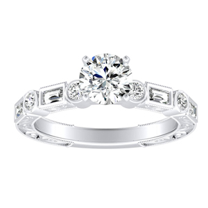 KEIRA Vintage Moissanite Engagement Ring In 14K White Gold With 0.50 Carat Round Stone