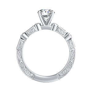 KEIRA  Vintage  Moissanite  Wedding  Ring  Set  In  14K  White  Gold  With  0.50  Carat  Round  Stone