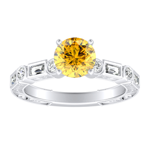 KEIRA  Vintage  Yellow  Diamond  Engagement  Ring  In  14K  White  Gold  With  0.50  Carat  Round  Diamond