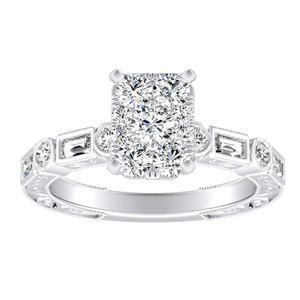 KEIRA Vintage Diamond Engagement Ring In 14K White Gold With Radiant Diamond In H-I SI1-SI2 Quality