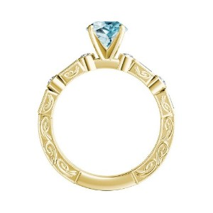 KEIRA  Vintage  Aquamarine  Engagement  Ring  In  14K  Yellow  Gold  With  1.00  Carat  Pear  Stone