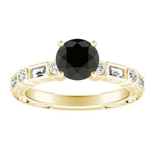 KEIRA  Vintage  Black  Diamond  Engagement  Ring  In  14K  Yellow  Gold  With  1.00  Carat  Round  Diamond