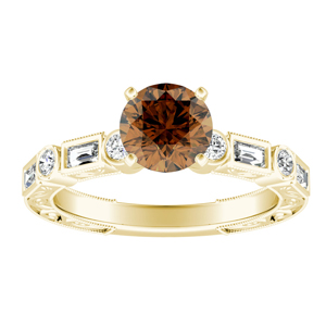 KEIRA  Vintage  Brown  Diamond  Engagement  Ring  In  14K  Yellow  Gold  With  0.50  Carat  Round  Diamond