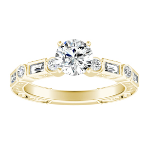KEIRA Vintage Diamond Engagement Ring In 14K Yellow Gold With 0.50ct. Round Diamond